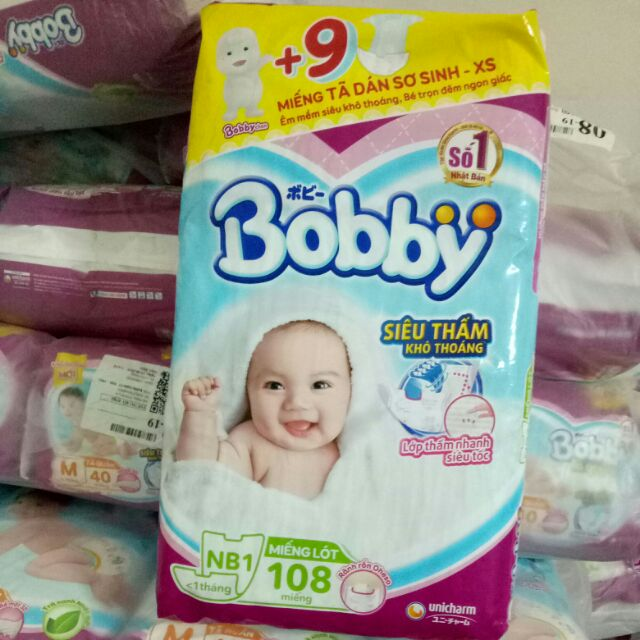 Miếng lót sơ sinh Bobby newborn 1 108 miếng (tặng 3miếng tã dán xs)