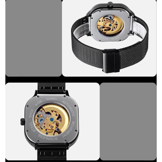 Đồng hồ cơ nam tự động SKMEI 9184 dây lưới thép không gỉ (Chọn màu)