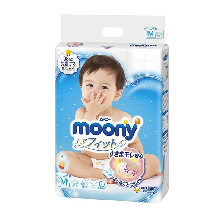 Tã - Bỉm Quần/Dán Moony Không Quà Các Size NB90/S84/M64/L54/M58/L44/XL38/XXL26