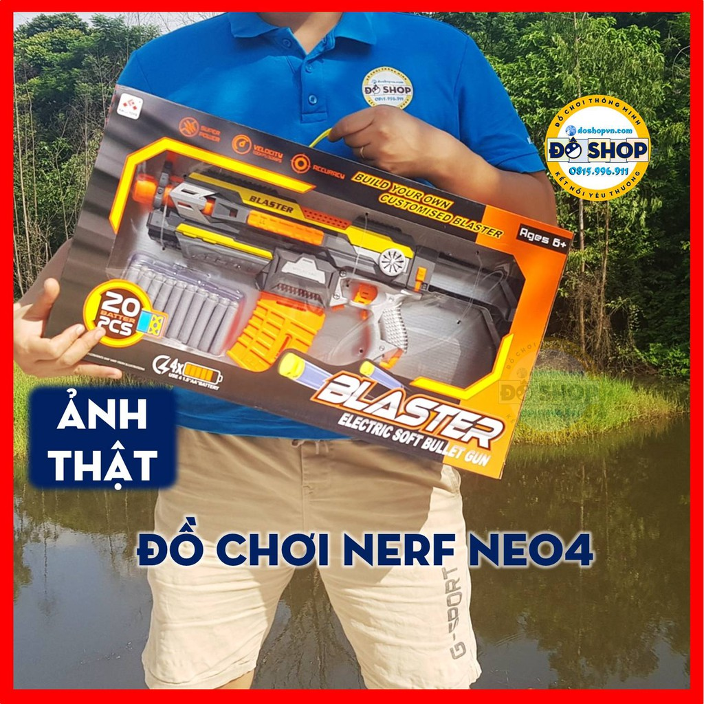 Đồ Chơi Nerf Blaster Dan Xốp Mềm Tự Động Dùng Pin Ne04 (Tặng Kèm Pin) – Đô Shop