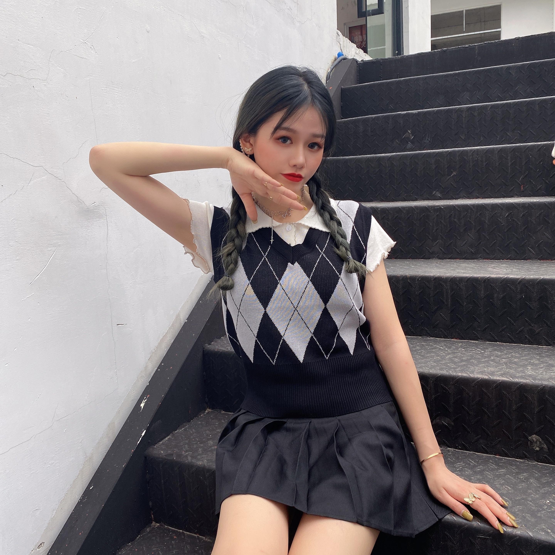 Áo Dệt Kim Nữ Không Tay Cổ Chữ V Phong Cách Hàn Quốc