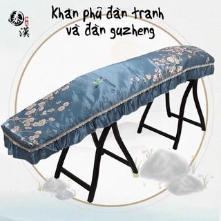 Khăn phủ đàn tranh, đàn guzheng lụa họa tiết hoa sang trọng chống bụi. Phụ kiện đàn tranh