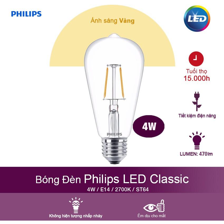 Bóng đèn Philips LED Classic 4W 2700K E27 ST64 - Ánh sáng vàng - 3569350 , 1244480382 , 322_1244480382 , 163000 , Bong-den-Philips-LED-Classic-4W-2700K-E27-ST64-Anh-sang-vang-322_1244480382 , shopee.vn , Bóng đèn Philips LED Classic 4W 2700K E27 ST64 - Ánh sáng vàng