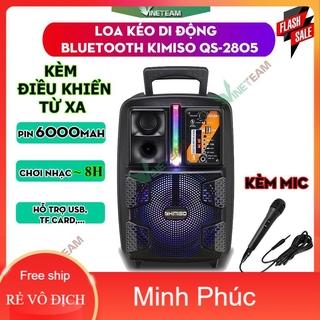 Loa Kéo Di Động Bluetooth Không Dây Kimiso Qs-2805/Qs-7801 Kèm Micro Có Dây , Âm Thanh Chất Lương Cao, Âm Bass Hay