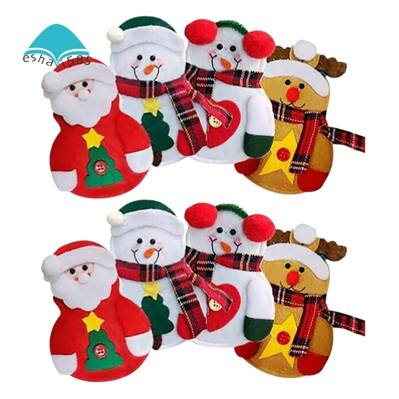 8pcs Snowman Santa Clause / Elk Cutlery Holder Pocket Christmas Knifeware Tablew