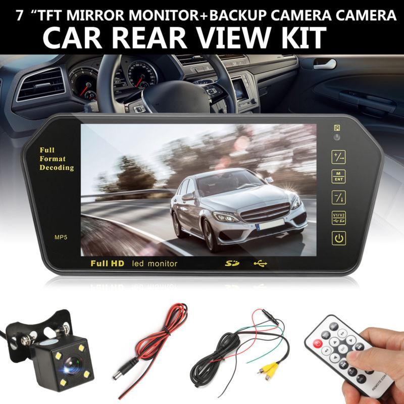 7″ LCD Car Rear View Backup Mirror Monitor+Wireless Reverse Camera Cam System