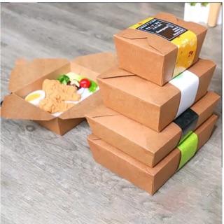Hộp giấy kraft đựng đồ ăn nhanh D1.400/D1000 không đai(Giá 10 cái)
