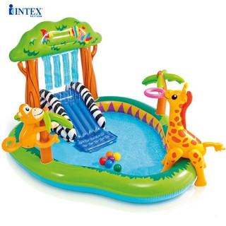 Bể bơi phao cầu trượt vườn bách thú có vòi phun mưa 216x188x125 cm INTEX 57155
