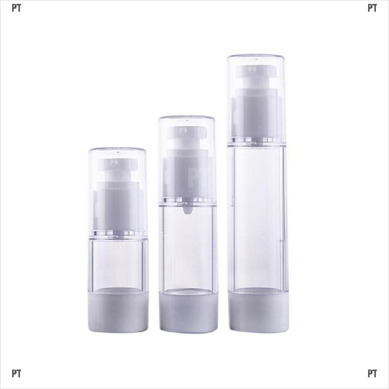 PT#Mini Portable Airless Bottle Cosmetic 15ml 30ml Pump Cover Travel Skincare Empty