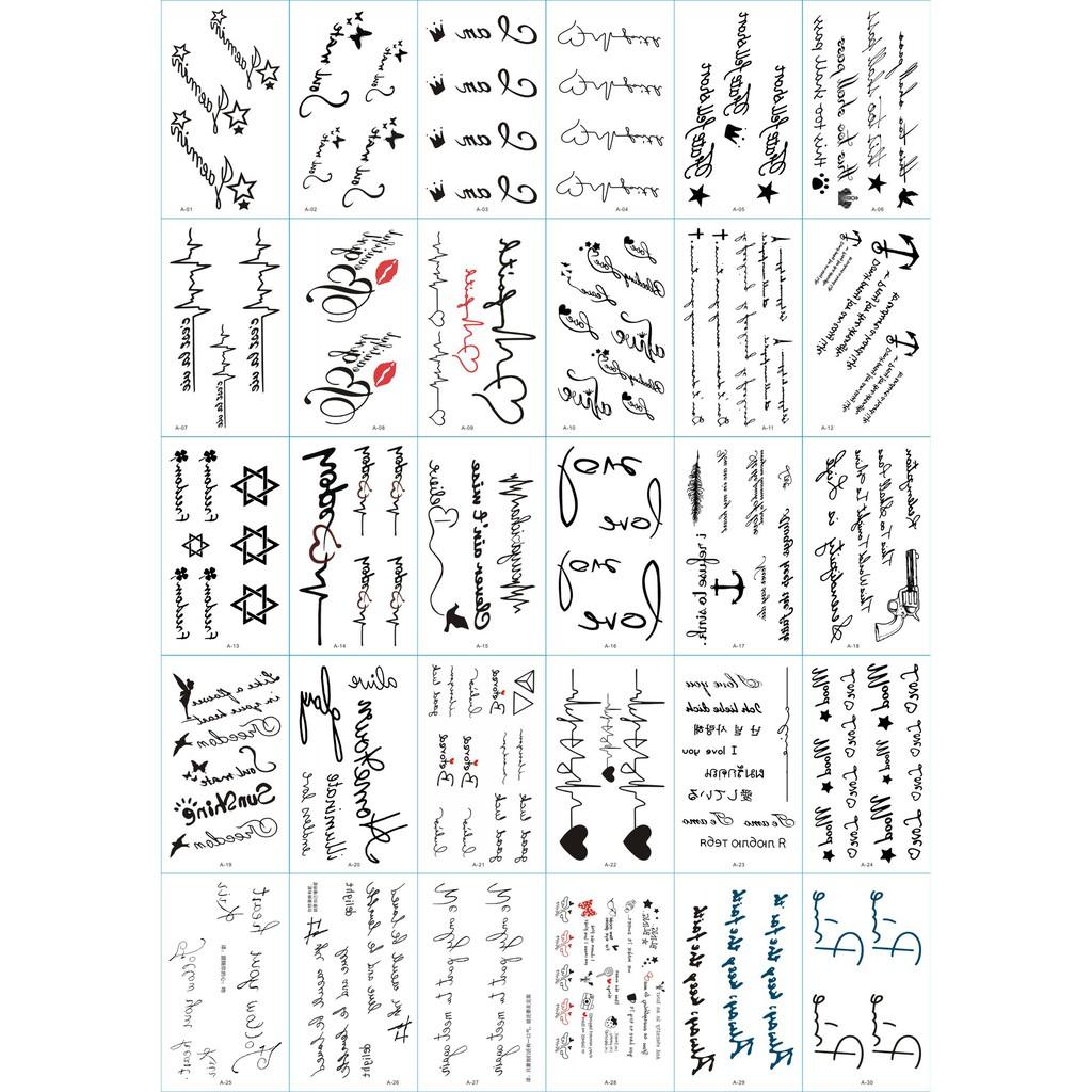 110 Hình Xăm Dán Tattoo Chữ Cái Hoạ Tiết Nhịp Tim