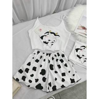 Sét áo hai dây bò sữa dễ thương kèm quần(Hàng như hình)