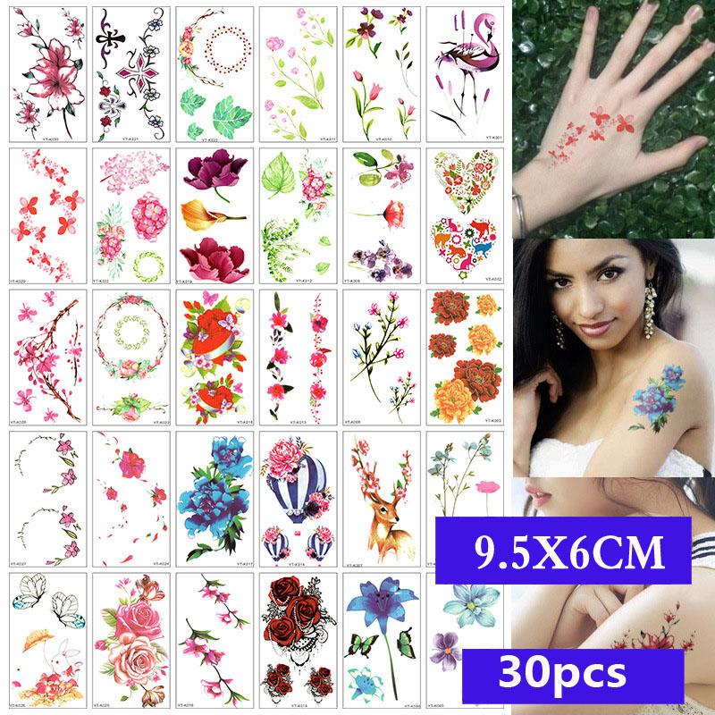 Set 30 hình xăm dán tạm thời họa tiết thời trang nhiều màu sắc tùy chọn