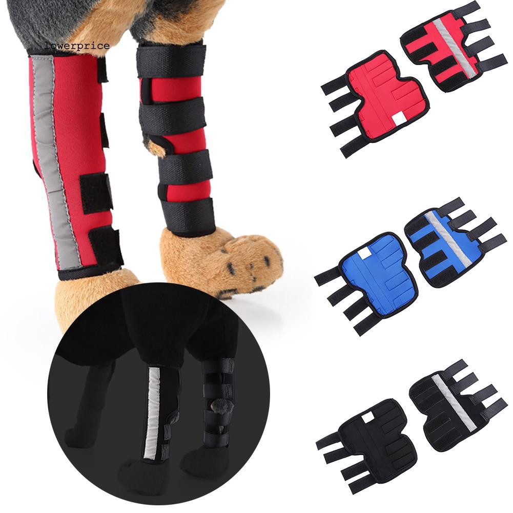 1Pair Dog Recovery Sleeve Canine Pet Rear Leg Hock Joint Wrap Protective Bandage