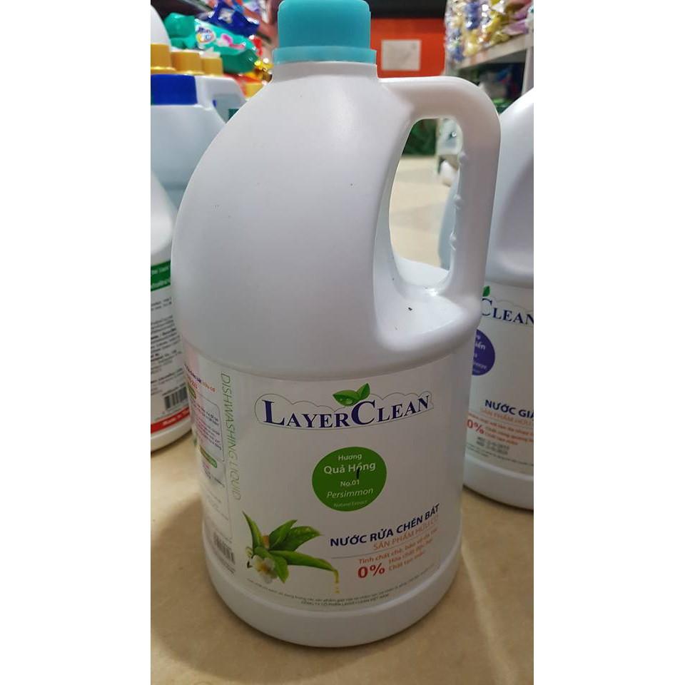 Can nước rửa bát hữu cơ Layer Clean 5 lít hương quế / hương quýt / hương quả hồng