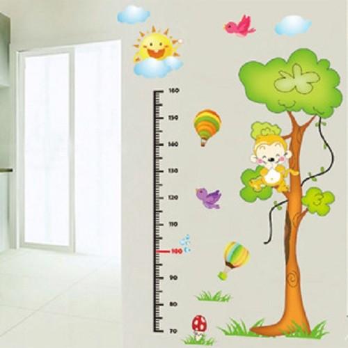 Decal dán tường đo chiều cao khỉ 2