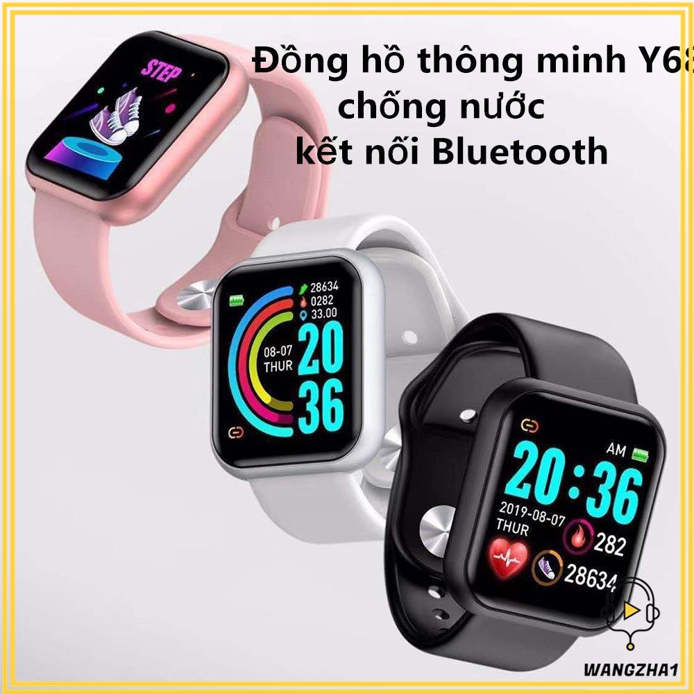 Đồng hồ đeo tay thông minh Y68 màn hình màu sắc kết nối bluetooth chống nước hỗ trợ theo dõi sức khỏe