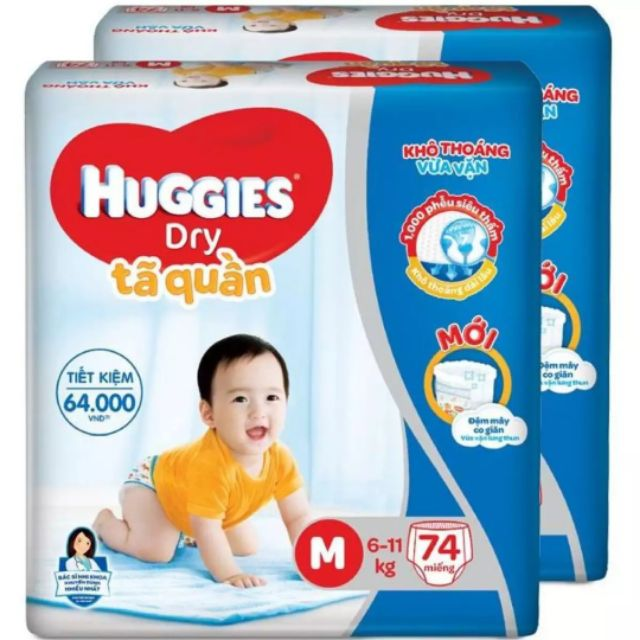 [Nhập MKBC20K giảm 20K đơn 200K] Bỉm Huggies tã quần Dry Pants SuperJumbo M74, L68, XL62,XXL56 miếng/bịch.