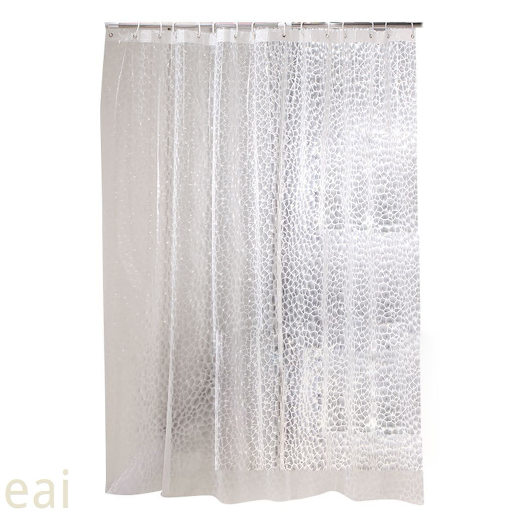Clear Shower Curtain Bathroom Screen Thickened 3D Transparent Waterproof with Hooks EVA Home Supplies