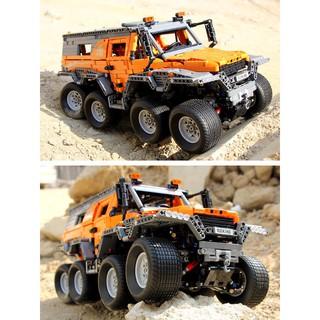 xe lắp ráp xe địa hình 8 bánh màu cam-lắp xong điều khiển xe chạy từ xa