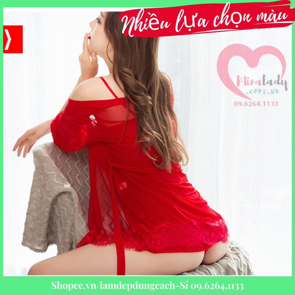 Mặc gì đẹp: Ngủ ngon hơn với Váy ngủ sexy gợi cảm xuyên thấu 2 dây cao cấp ko có mút ngực - đồ ngủ kèm áo choàng màu đỏ,đen hồng Minalady