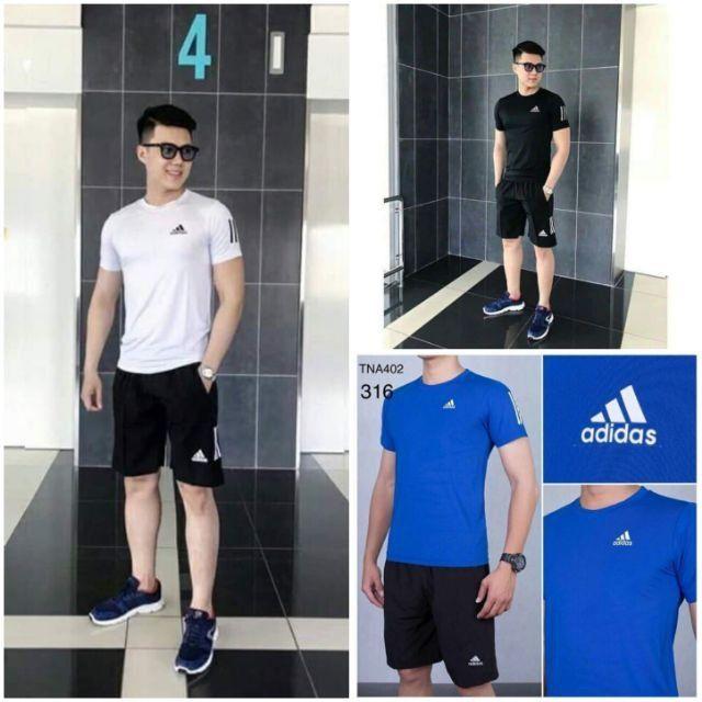 Xả kho hàng hè Bộ nam thể thao mới hè 2019, Áo chất vải thun lạnh thể thao co giãn 4 chiều phom 47-80kg mặc đẹp