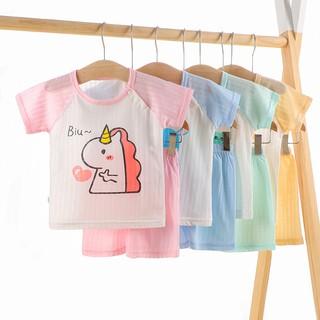 Ringkas pijama cho bé Quần đùi pijama cho bé Đồ ngủ mùa hè đồ ngủ bộ cho bé gái Quần áo mùa hè Bộ đồ mùa hè Bộ cộc bé trai quần đùi cho bé Bộ pijama kẻ cho bé 2 mảnh cotton nguyên chất