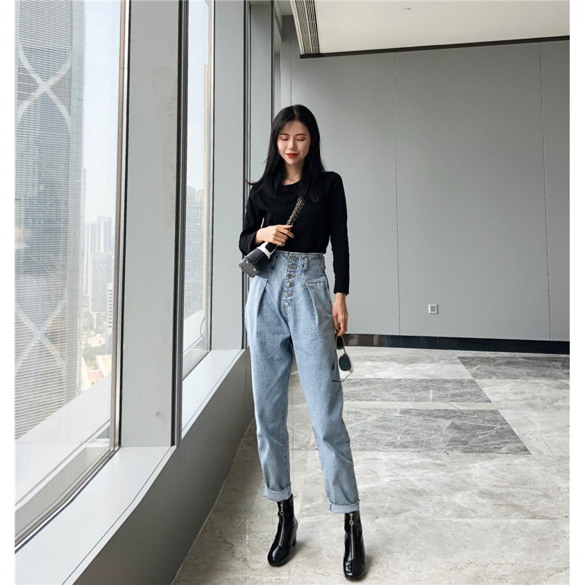 2018 autumn new Korean version of the old single-breasted loose nine points pant