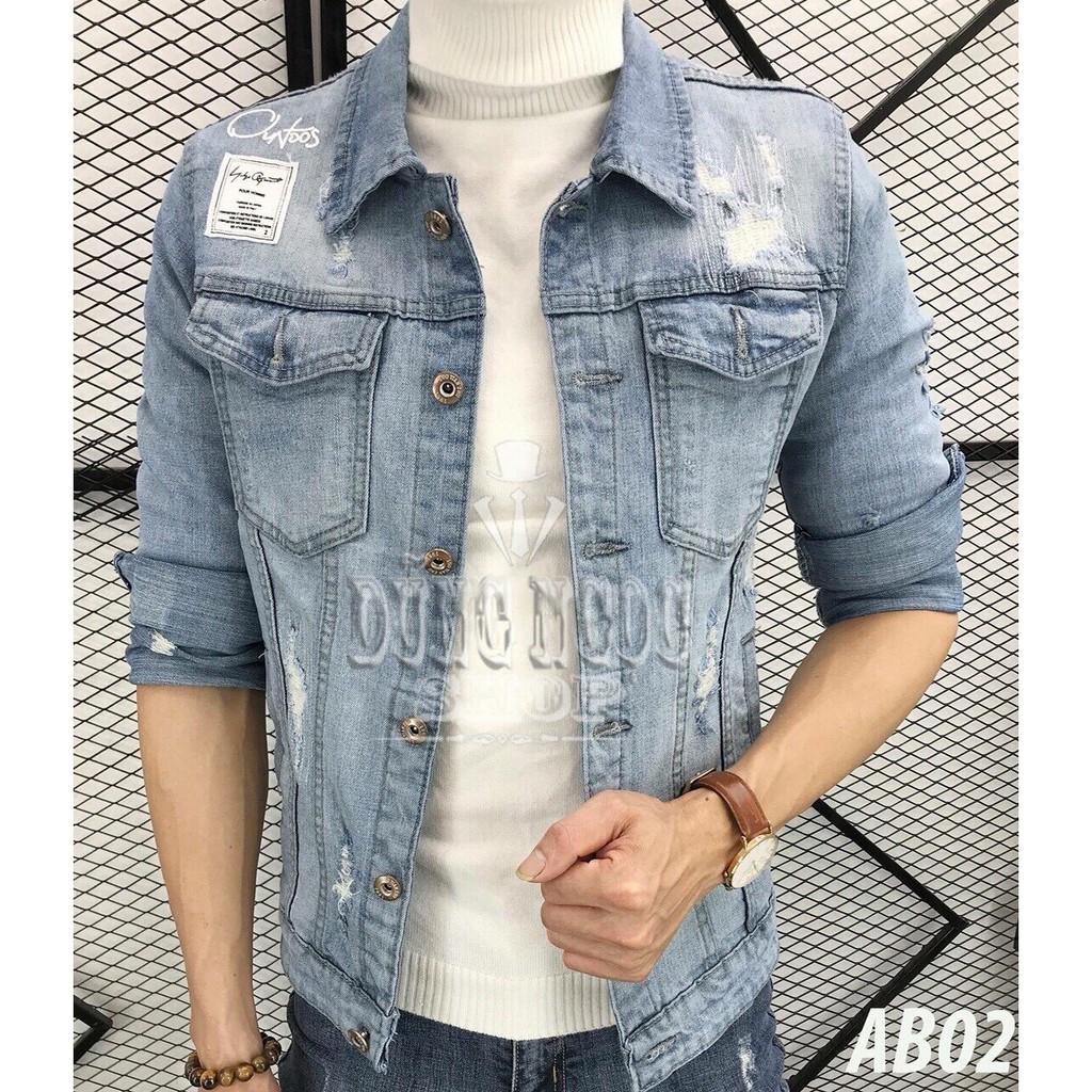 [Dành Cho Shop] Áo Khoác Jean Nam Xước Ngực Màu Bạc Có Cổ Phong Cách Siêu Bền Đẹp, Áo Khoác Bò - Áo khoác jeans