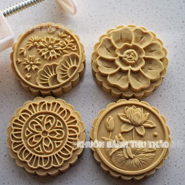 Khuôn bánh trung thu 150g 4 mặt hoa lá sen