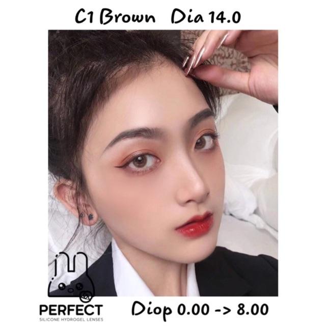 [Giá 1 Đôi] 14.0 (0.00 ->8.00) Lens C1 Brown – Kính Áp Tròng