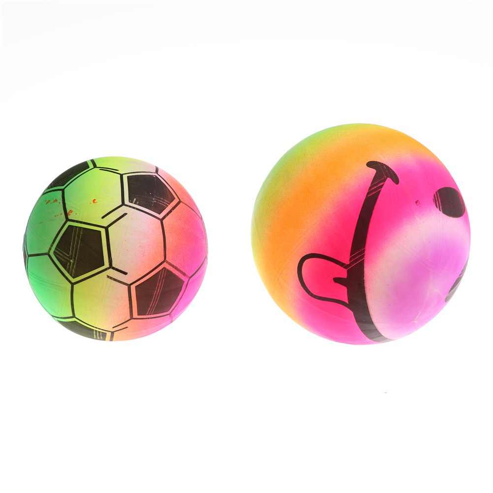 LOVEU* Beach Volleyball Inflatable PVC Blow UP Rainbow Football Play Balls Summer Fun