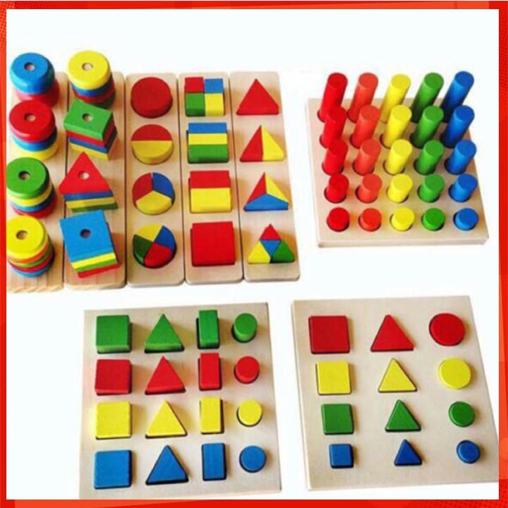 [CỰC ĐẸP] Bộ giáo cụ Montessori hộp 8 món giúp bé làm quen các hình khối [SỈ - LẺ]