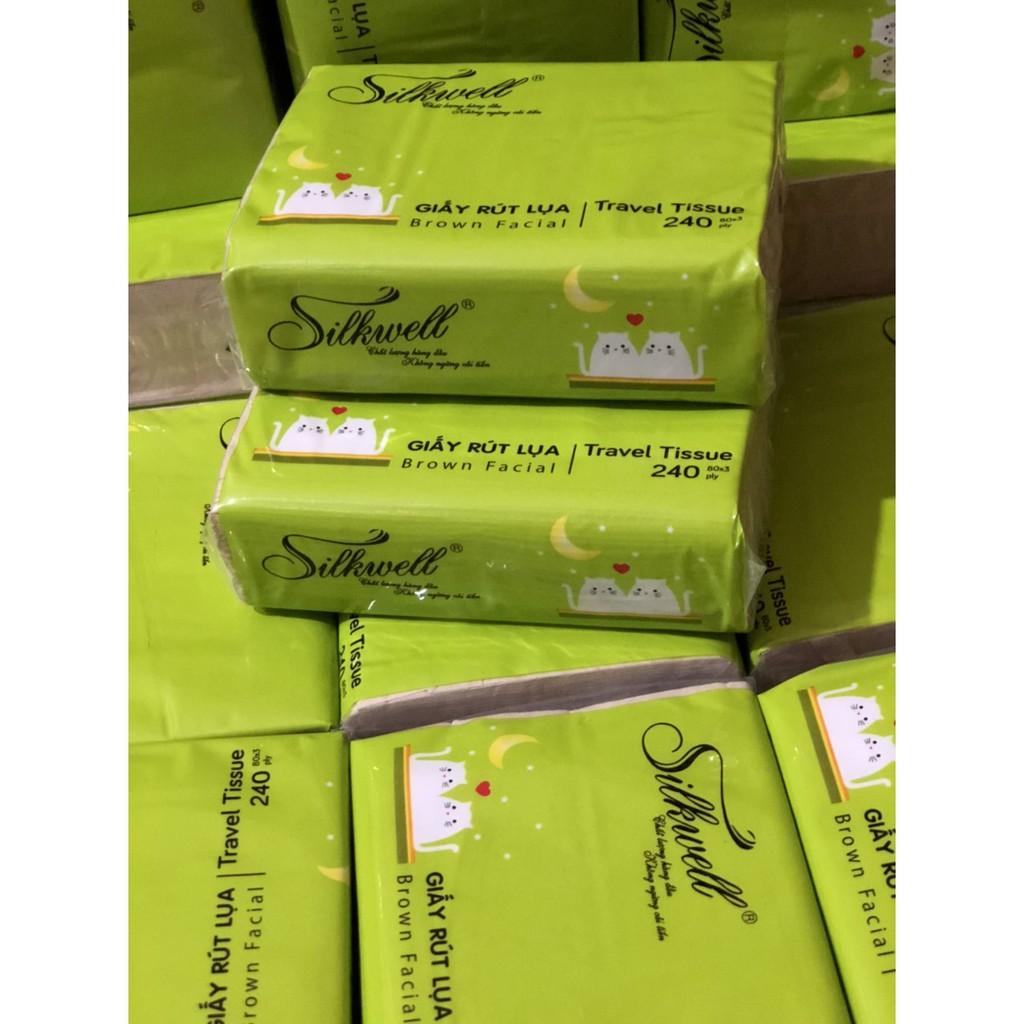 Combo 6 gói khăn giấy bỏ túi 240 tờ Silkwell 3 lớp