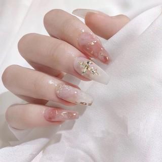 Bộ 24 móng tay giả màu hồng trắng đính lá vàng và kim cương giả dài kèm keo dán thời trang