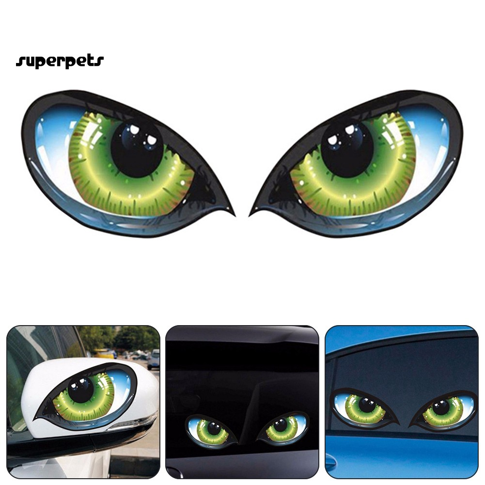 super_1 Pair Eyes Reflective Self-adhesive Car Rearview Mirror Decal Stickers Decor
