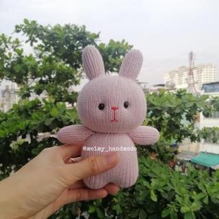 Thú bông len handmade – Thỏ béo lùn 1 (mẫu đan)