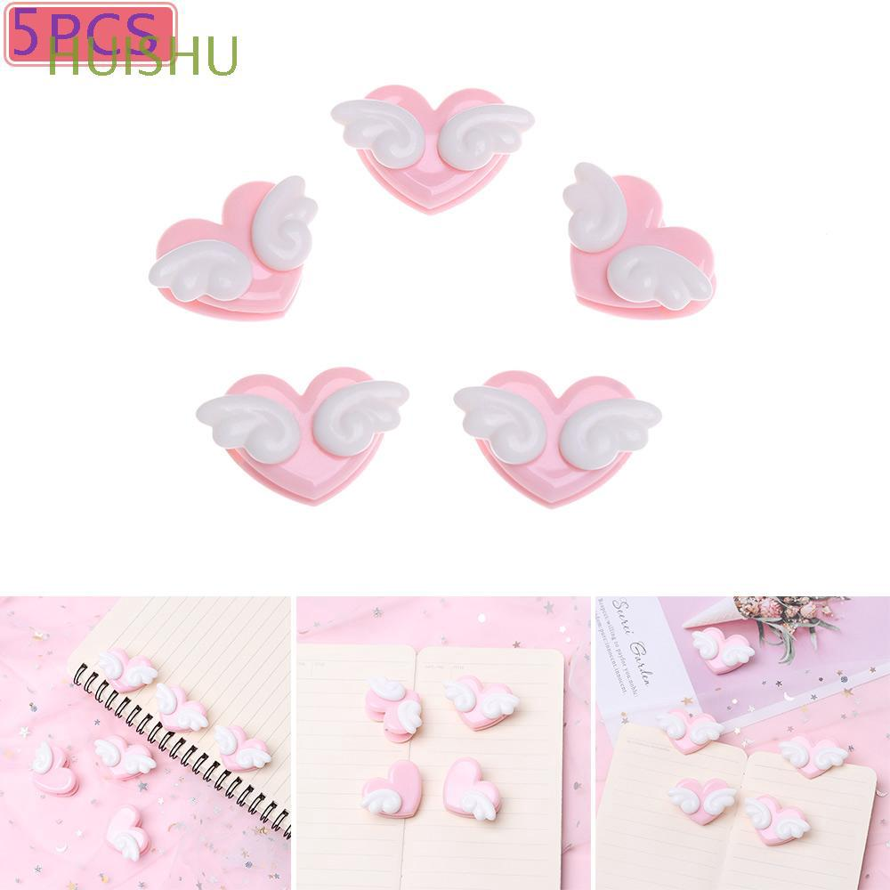 5pcs/set Mini Plastic Student Stationery Pink Color Decorative Photo Sealing Clips