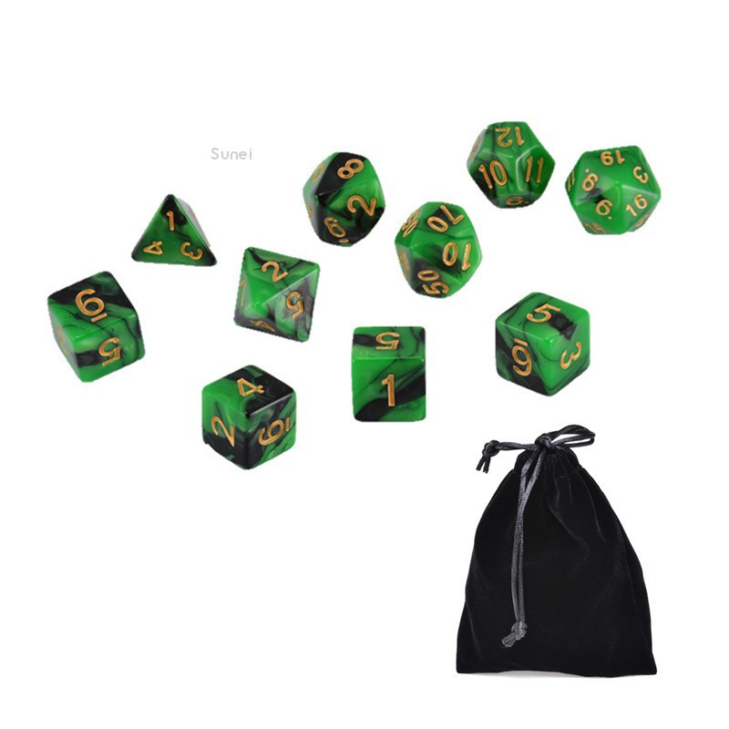 💗Sunei💗10pcs Dark Green&Black Dungeons and Dragons Polyhedral Dice Sets w Free Pouches