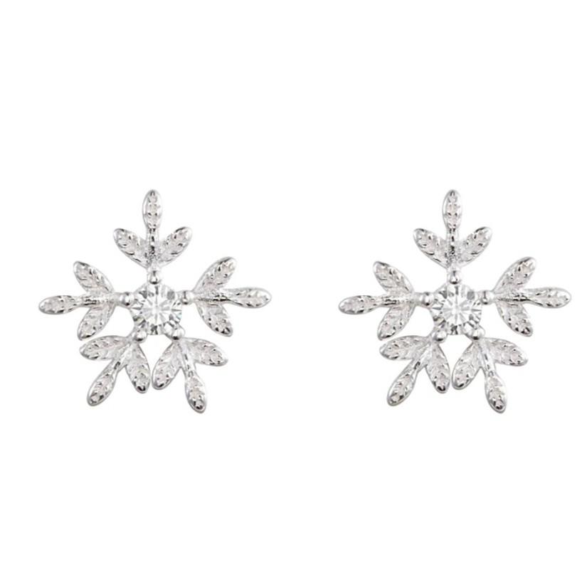 Khuyên Tai Bạc Nữ 925 Dành Cho Nữ Hình Bông Tuyết - B2419 - Bảo Ngọc Jewelry