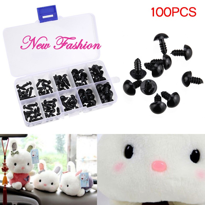❀ET❀ 100pcs Black Plastic Safety Eyes for Teddy Plush Doll Puppet DIY Crafts 6-12mm @vn
