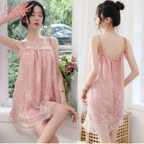 Đầm Ngủ, Váy Ngủ MS5174 Hai Dây Phối Ren Sexy Girl