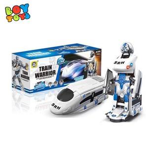 Bộ đồ chơi tàu điện siêu tốc biến hình Robot có nhạc và đền cực ngầu cho bé