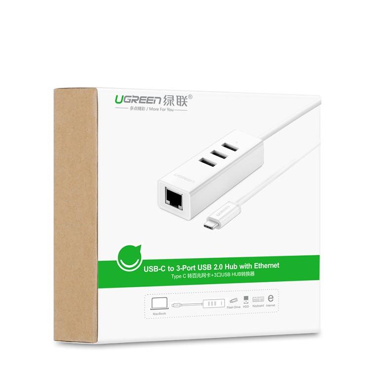 [Mã 267ELSALE hoàn 7% đơn 300K] Cáp chuyển USB Type C to LAN và USB HUB Ugreen 20792
