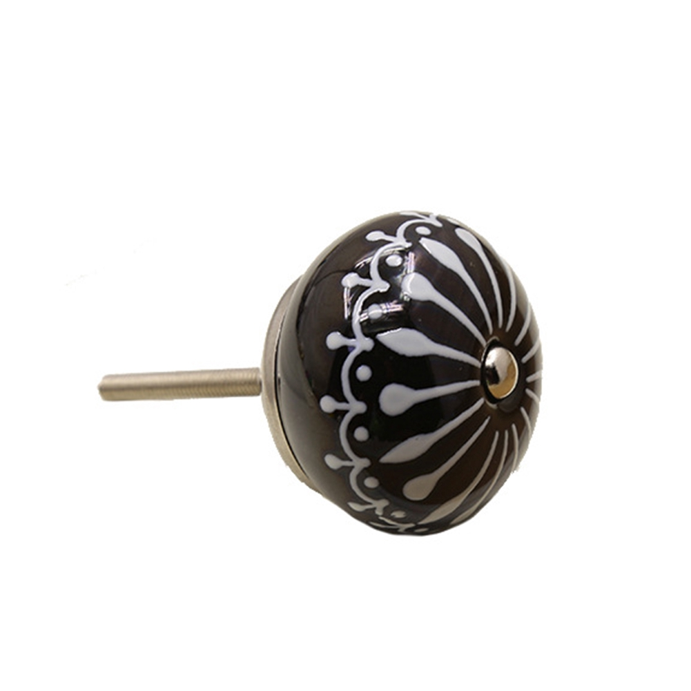 Kitchen Ceramic Home Hand Painted Furniture Single Round Shape Durable Knobs