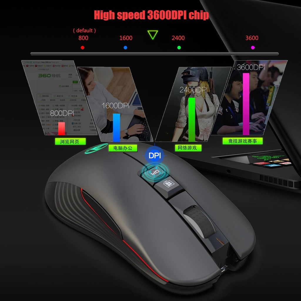 Chuột Gaming LED Chơi Game Không Dây Wireless 2.4GHZ 3600DPI HXSJ T30