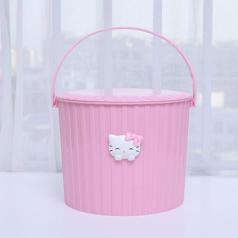 趴趴 cat plastic bucket with lid bucket bucket thick can sit bath bench cartoon household storage bucket bath barrel