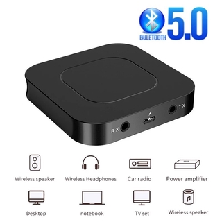 Bluetooth 5.0 2 In 1 BT13 Stereo Audio Adapter/ 3.5mm Wireless Aux Receiver Transmitter with LCD Display Support Handsfree Mic Compatible with TV PC