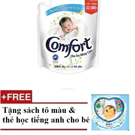 [ FREESHIP+QUÀ] Nước xả Comfort Cho Da Nhạy Cảm2.6L(67342946) + Tặng 1bộ sách và thẻ tiếng anh em bé