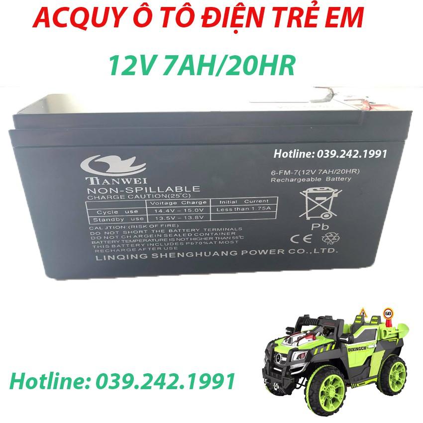 Bình AcQui 12V7AH/20HR Dành Cho Ô Tô Xe Máy Điện Trẻ Em
