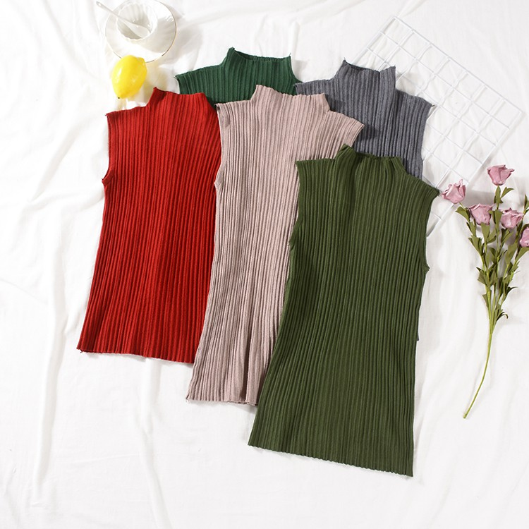 High-necked solid color sleeveless versatile simple knit vest vest fashion casua
